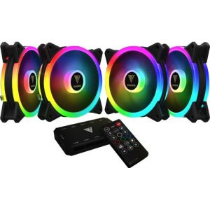 Gamdias AEOLUS M2-1204R Hydraulic 120MM RGB 4 in 1 Fan Pack with Controller and Remote